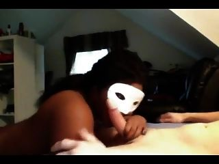 Compilation Of A Masked Black Chick Sucking White Cock