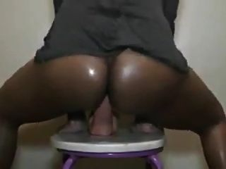 Huge Dildo In This Black Pussy