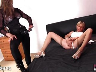 Blonde Sissy In Sexy White Lingerie Loves Wanking And Anal
