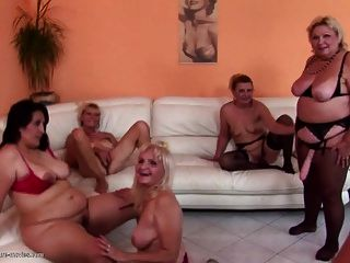 Grannies And Moms At Crazy Pissing Gangbang