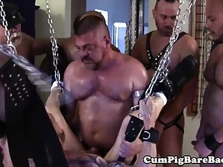 Biker Bears Raw Fucking Tight Cub In Hoist