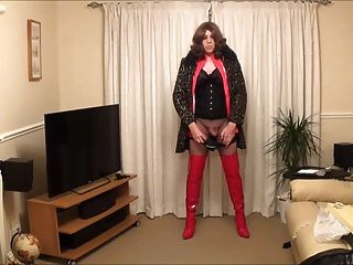 Licking Up My Own Cum - Red Pvc And Thigh Boots