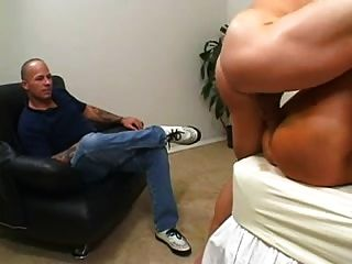 Fake Tits And Tan Lined Milf Gets A Facial From Hubby.