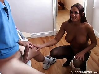 Super Sexy Old Spunker Gives A Super Sloppy Blowjob