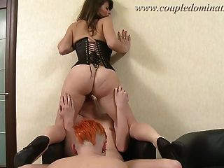 Coupledomination - Red-haired Sub Gets A Cock And Strapon