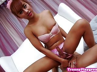 Amateur Ladyboys In Threeway With Lucky Guy