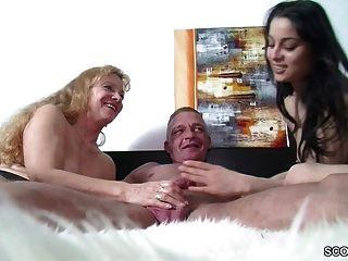 German Milf Teach Petite Teen To Fuck Big Dick Boyfriend