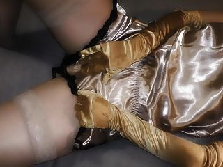 Gold Satin Teddy, Satin Gloves Masturbation - Short Version
