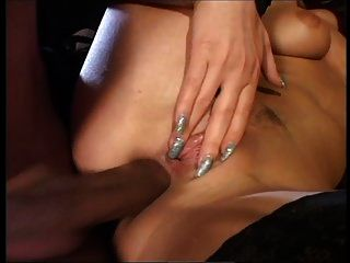 Hot Blonde Riding Two Cocks