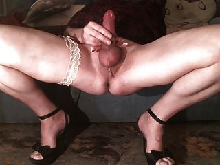 Crossdresser Evy In High Heels Playing With Hard Clit