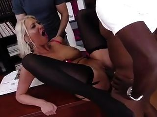 Blonde Sucking Fucking Big Black Cock In Front Of Boyfriend