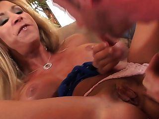 Blonde Mature Big Tits And Long Leg In Heels Fucks Great