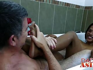 Jap Dude With Long Hair Gets Banged Roughly In A Bathtub