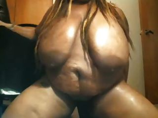 Black Bbw With Huge Tits Goes Crazy On Dildo, Screaming