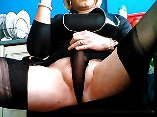Crossdresser  Holly Smoking And Stroking