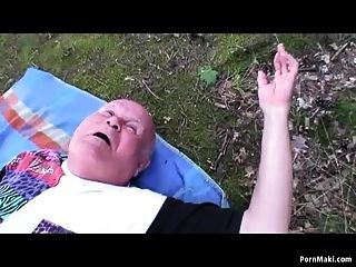Bbw Granny Having Fun In The Forest