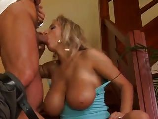 Big Natural Titty Fucking On The Stairs