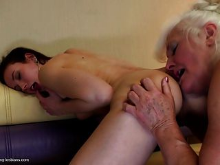 Sexy Granny Seduces Teen Girl With Pigtails