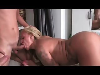 Filthy Mature Slut Filled Up By Two Young Guys