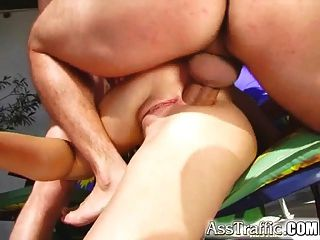 Ass Traffic Victoria Gets Double Pumped In Ass At Pool Party