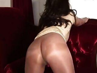 Pantyhose Milf Gold Dress