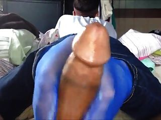Footjob In Blue Nylon Socks