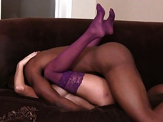 Wife In Lingerie Fucks  Bbc On Couch