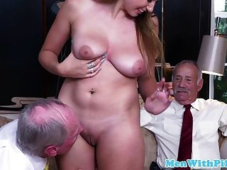 Busty Babe Fucked And Licked By Geriatric