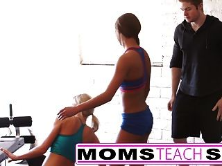 Stepmom Teaches Stepdaughter Her First Time Threesome