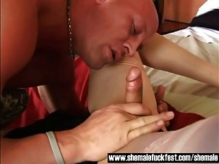 Older Tranny Gets Her Asshole Rammed By A Stud - Shemale Fuc