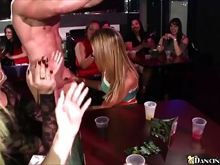 Horny Girls Give Blowjob In The Club