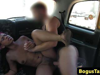 Brazilian Brit Taxi Babe Cumsprayed On Pussy