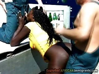 Hung White Pervs Spill Beer On Hot Ebony