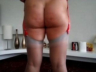 My Red Garter Belt And Ff Nylon Stockings. Do You Like?