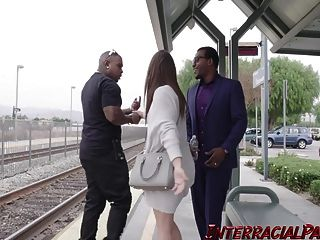 Sweet And Petite Sara Luv Handles 2 Massive Black Cocks!