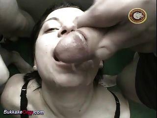 Busty Teens First Bukkake Gangbang Orgy