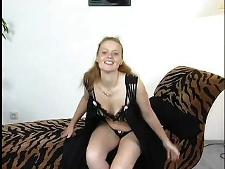 Natural Redhead Using A Dildo And Sucking Cock