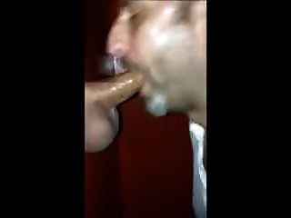 Glory Hole Cock Sucking With Cum