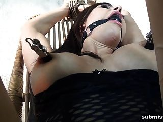 Submissed.com Nipple Clams, Ball Gag, Bound, Machine, Orgasm