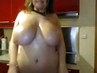 Shaking And Oiling Big Tits In Kitchen For Webcam Show