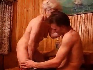 Blonde Granny Gets A Creampie
