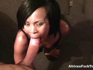 Real African Girl Rides A Big White Cock!