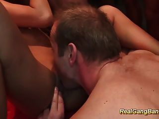Real Deepthroat Gangbang Orgy
