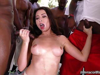 Melissa Moore Gets Bukkake With 14 Black Guys