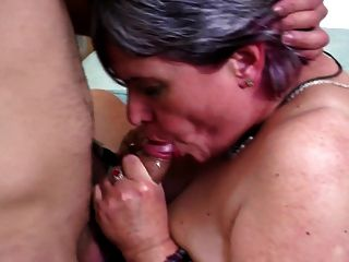 Old Mom Seduces Young Lucky Boy