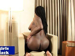 Curvy Nubian Tgirl Stroking Her Dick