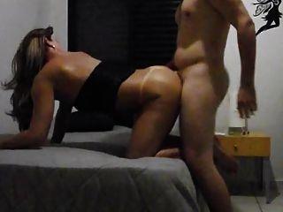 Brunette Latin Tgirl Sucking And Fucking On Bed