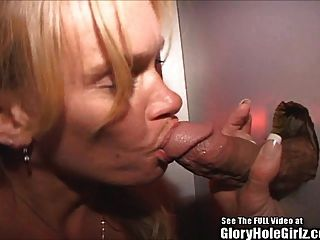 Blonde Wife Blowjob Whore Swallows Semen In Glory Hole