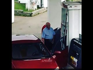 Old Guy Penis Out At Gas Pump
