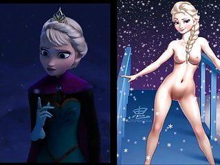 Sekushilover - Disney Elsa Vs Naked Elsa